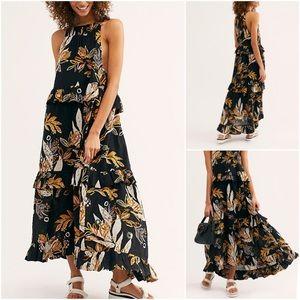 Free People Anita Printed Maxi Dress Black Floral